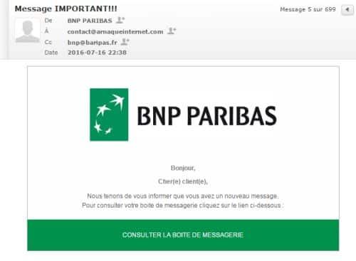 Exemple d'arnaque au phishing par mail