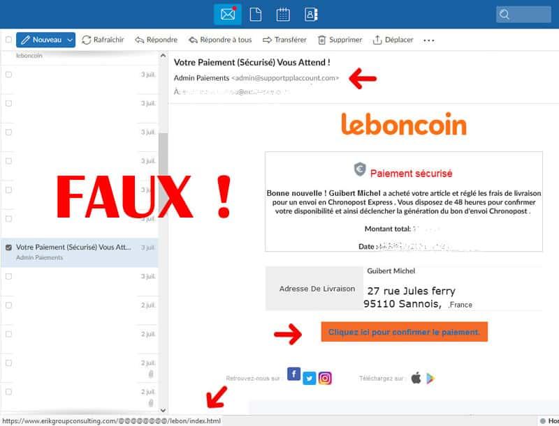 arnaque leboncoin phishing